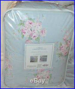 SIMPLY SHABBY CHIC Misty Blue Floral Roses Bouquet 3PC FULL/ QUEEN COMFORTER SET