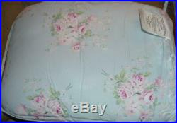 SIMPLY SHABBY CHIC Misty Blue Floral Roses Bouquet 7PC QUEEN COMFORTER SHEET SET