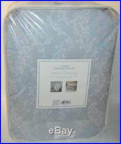 SIMPLY SHABBY CHIC RACHEL ASHWELL Damask Grey Blue 3P FULL/ QUEEN COMFORTER SET