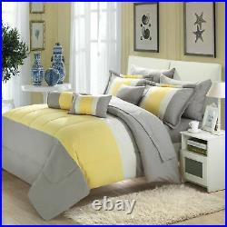Serenity Yellow & Grey Queen 10 Piece Comforter Bed In A Bag Set