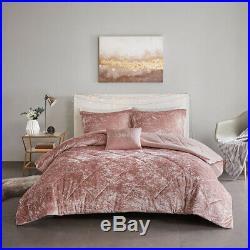 Silky Soft Blush Pink Navy Velvet Quilting Comforter 4 pcs Queen Full Set