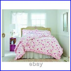 Simply Shabby Chic PEONY White Pink Floral Ruffled Comforter Set Full/Queen