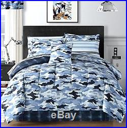 Sky Blue Camouflage Camo Army Boys Queen Comforter Set (8 Piece Bed In A Bag)