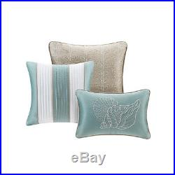 Soft Blue Seashells, Starfish, Beach Queen Comforter Set (7 Piece Bed In A Bag)