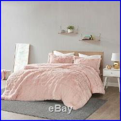 Soft Chic Blush Pink Faux Fur Texture 3 pcs Cal King Queen Comforter Set New