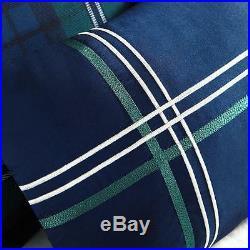 Soft Cozy Blue Green White Navy Stripe Plaid Boys Sporty Comforter Set New