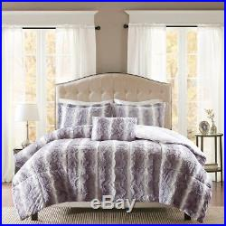 Soft Grey Chinchilla Faux Fur Comforter 4 pcs Full /Queen Set Bedding