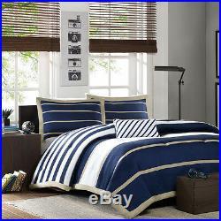 Soft Microfiber Modern Sport Blue Beige White Stripe Cozy Comforter Pillow Set