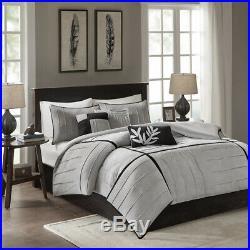 Soft Modern Black Grey Silver Leaf Textured Comforter Set Pillows King & Queen