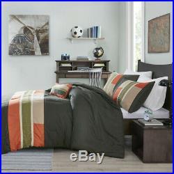 Soft Modern Orange Green Stripe Grey Khaki Comforter Set Twin / XL & Full Queen