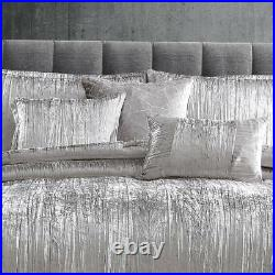 Solid Silver Gray Grey Crinkled Velvet 7pc Comforter Set Queen King Glam Bedding