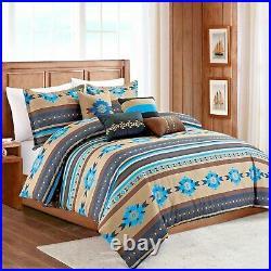 Southwestern Aztec Tribal Tan Turquoise Cabin Comforter Set 7 Piece Set