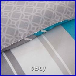 Sporty Blue Teal Yellow Grey White Chevron Stripe Comforter Set Full Queen Twin