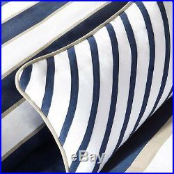 Sporty Blue White Navy Beige Khaki Stripe Soft Comforter Set Full Queen & Twin