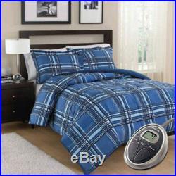 Sunbeam Electric Heated Warming Comforter Set w Pillow Shams Full/Queen Brown