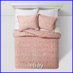 THRESHOLD Clipped Chenille Comforter & Sham Set Blush FULL/QUEEN Open B