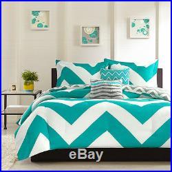 Teal Blue White Aqua Nautical Ocean Shore Chevron Stripe Comforter Set & Pillows