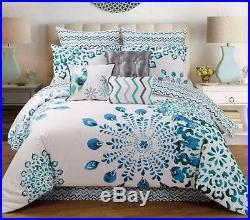 Teal Blue White Peacock Design 9P QUEEN or KING size Comforter+Shams+Pillows Set