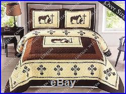 Texas Praying Cowboy Horse Star Western Quilt Bedspread Comforter Shams 3 Pc Set