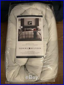 Tommy Hilfiger Buffalo Plaid Full Queen Size Cotton Comforter SET Gray White