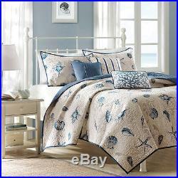 Tropical Beach Sea Nautical Blue Beige Shell Coast Ocean Quilt Comforter Set