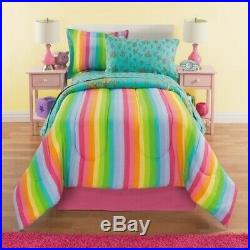 Twin Full Bed Bag Unicorn Floral Rainbow Reversible 8 pc Comforter Sheet Set