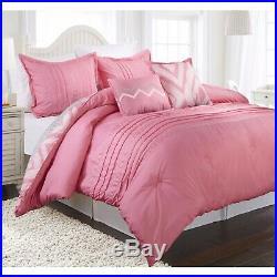 Twin Full Queen Bed Pink White Grey Gray Chevron Diamond Geo 5 pc Comforter Set
