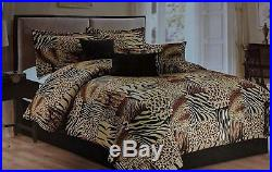 Twin Full Queen Cal King Bed Leopard Zebra Black Brown Fur 7 pc Comforter Set