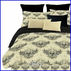 Twin Full Queen King Bed Black Beige Winged Skulls 4 pc Comforter Set Bedding
