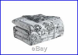 Twin Full Queen King Bed Gray Floral Paris Eiffel Tower Amour 8 pc Comforter Set