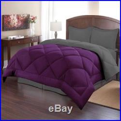 Twin Full Queen King Bed Solid Purple Gray Reversible 3 pc Comforter Set Bedding