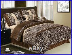 Twin Full Queen King Leopard Zebra Tan Brown Faux Fur Safari 7 pc Comforter Set