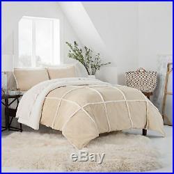 UGG Comforter Set Queen Size Tan Reversible Bedding Sherpa Soft Suede Birch Sham