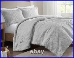 Ultra Plush Gray Faux Fur Comforter Set Grey Mink Medallion Shag Long Hair