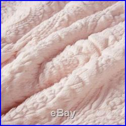 Ultra Plush Pink Faux Fur Comforter Set Blush Mink Medallion Shag Long Hair