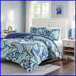 Ultra Soft Blue Navy Teal Aqua Green Bohemian Tropical Global Comforter Set