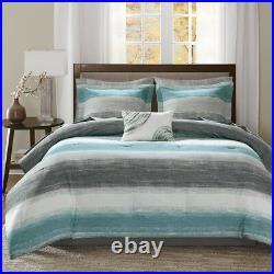 Ultra Soft Blue Teal Aqua Beach Watercolor Abstract Grey Comforter Set & Sheets