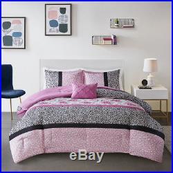 Ultra Soft Pink White Grey Leopard Animal Flower Girls Comforter Set Full Queen