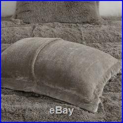 Ultra Soft Plush Grey Faux Fur Comforter Set Gray Shaggy Bear Hug Bedding