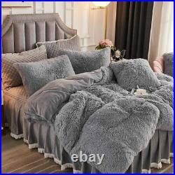 Ultra Soft Plush Luxurious Grey Shaggy Fluffy Fur Lush Luxury Chic Comforter Set