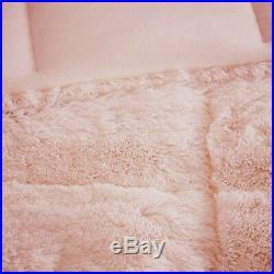 Ultra Soft Plush Pink Faux Fur Comforter Set Blush Mink Shaggy Bedding