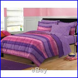 Ultra Soft Reversible Purple Pink Stripe Girls Bed In Bag Comforter Sheets Set