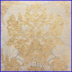VERATEX Carrington QUEEN COMFORTER SET 6pc Chenille FLORAL MEDALLION Gold Ivory