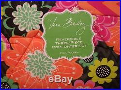 Vera Bradley Full/queen Comforter W Matching Sham 3 Piece Set New Ziggy Zinnia