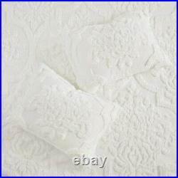VIOLA WHITE CHENILLE 3pc Queen COMFORTER SET COTTAGE VINTAGE PLUSH