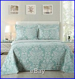 Vera 100% Cotton Coverlet Bedspread Comforter Bedcover Set 3pcs -Queen King Mega