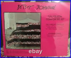 Very Rare Betsey Johnson Banded Floral Full Queen Comforter + Sham Set