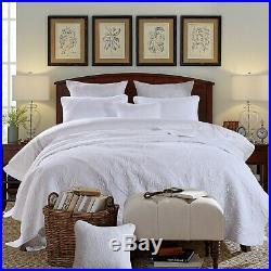 Vintage White 100% Cotton Coverlet Bedspread Comforter Bedcover Set 3pcs Queen
