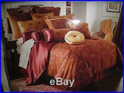 Waterford Ashford Crest Queen Comforter Shams Bedskirt 4 Pc Set Burgundy Gold