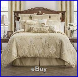 WATERFORD Copeland QUEEN COMFORTER SET 5p PILLOW Floral Taupe Champagne Gold NWT